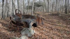 Abandoned car in the winter woods of New Jersey Stock Footage