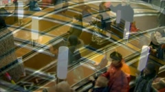 Hurry crowd on escalator time lapse Stock Footage