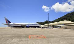 Stock Photo of Transaero Airlines plane at Seychelles International Airport on Mahe Island