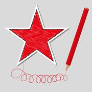 Vector illustration dashed star and pencil Stock Illustration