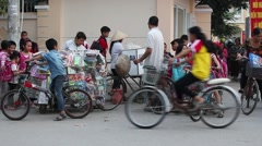 hawkers on street of  asia - stock footage