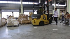 Workers are unloading goods Stock Footage
