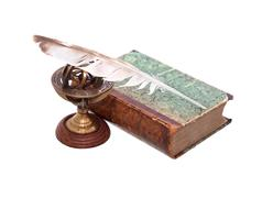 Old Book And Quill Pen - stock photo