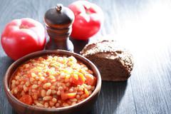 Stewed Beans Against Light Stock Photos