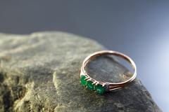 Ring With Emerald - stock photo
