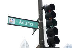 Adams St in Chicago Stock Photos