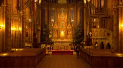 Tourists in Matthias Church, Christmas Time,  Budapest, Hungary Stock Footage