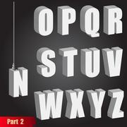 Hanging light bulb letters. 3d isometric alphabet. Pendant white bold abc Stock Illustration