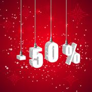 Stock Illustration of Holiday winter sale discount banner. Hanging 3d bulb digit lights