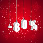 Holiday winter sale discount banner. Hanging 3d bulb digit lights - stock illustration