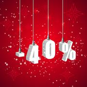 Holiday winter sale discount banner. Hanging 3d bulb digit lights Stock Illustration