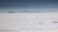 4K Mountain Peaks With Dense Layer Of Fog. Foggy Mountain Landscape. Nature. Stock Footage