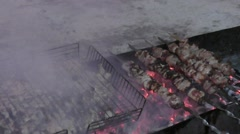 Cook skewers for Christmas Stock Footage