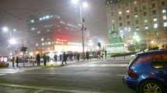Time Lapse of Crowded busy European city by Night,Winter Travel 4K - stock footage