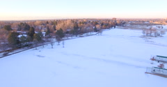 Aerial view of sport park in the Winter. Stock Footage