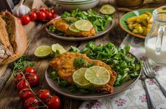True Viennese schnitzel - stock photo