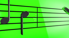 Animation of Music notes on staves Stock Footage