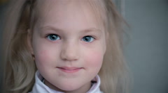 Portrait of a 5 year-old child who smiles Stock Footage