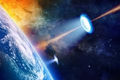 UFO near planet Earth - stock illustration