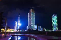 Night view of Batumi - stock photo