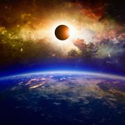 Full solar eclipse - stock illustration