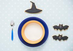 Good morning my child: an halloween decorated beakfast set-up. - stock photo