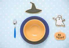 Good morning my child: an halloween decorated beakfast set-up. Retro-Filtered Stock Photos