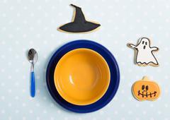 Good morning my child: an halloween decorated beakfast set-up. Stock Photos