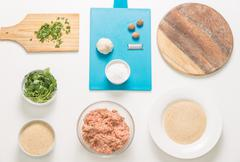 Ingredients for typical italians meatballs while preparing. Top-view. - stock photo
