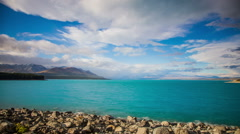 Time Lapse - Cloudscape of Lake  Pukaki, New Zealand, Panning View Stock Footage