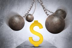 Ball and chain with dollar sign Stock Illustration