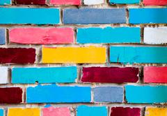 Colorful urban brick wall as creative background Stock Photos
