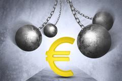 Ball and chain with euro sign - stock illustration