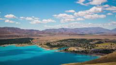 Time Lapse - Ariel View of Lake Tekapo with Mountain Range, New Zealand - stock footage
