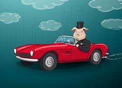 big fat rich hog driving a red cabrio - stock illustration