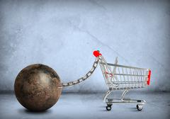 Iron ball with shopping cart - stock illustration