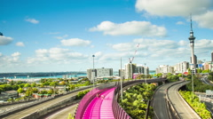 Time Lapse - Highway in Auckland City with the Sky Tower, New Zealand Stock Footage
