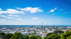 Time Lapse - Ariel View of Downtown Auckland, New Zealand, Zooming In - stock footage