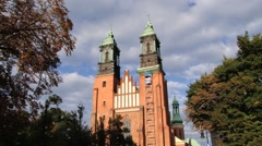 Exterior of the basilica of St. Peter and St. Paul in Poznan, Poland. Stock Footage