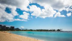 Time Lapse -Clouds over the Beach of Honolulu, Hawaii Stock Footage
