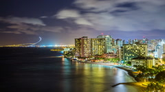Time Lapse - Night Skyline of Waikiki Beach , Honolulu, Oahu, Hawaii Stock Footage
