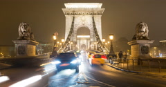 The front of the Szechenyi Chain Bridge in Budapest,  Tilt Up Stock Footage
