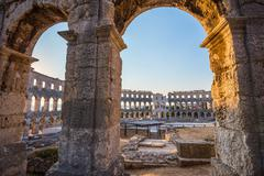 Architectural Details of Pula Coliseum, Croatia - stock photo