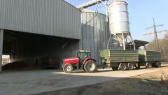 Tractor on farm Stock Footage