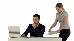 Businesswoman standing in the office presenting a document to her boss sand Stock Footage