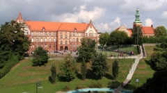 View to the historical buildings in Gniezno, Poland. Stock Footage