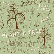 Arbor Day Hand Drawn Seamless Floral Pattern - stock illustration
