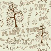 Arbor Day Hand Drawn Seamless Floral Pattern Stock Illustration