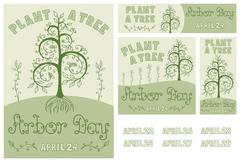 Arbor Day Set of Hand Drawn Poster, Card, Flyer and Banner - stock illustration