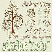 Arbor Day Set of Hand Drawn Design Elements Stock Illustration